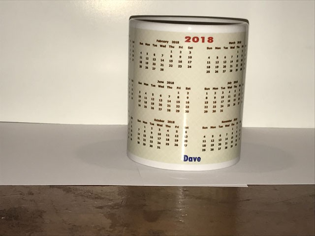 Personalised Calendar 2018 coffee mug