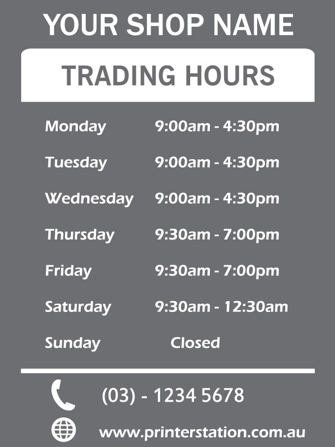 Personalised Shop Opening Hours Window Decal